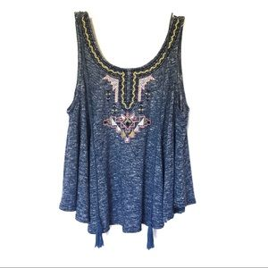 Flying Tomato | Blue Embroidered Tassel Crop Tank